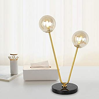 Lámpara de mesa con bola de cristal moderna, luz de lectura ...