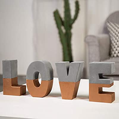 MyGift Love Block Letters Sign Decorative 3D Standing Cement Word Art with Copper-Tone Accent - Decorative cement LOVE signs in 5-inch block letters Freestanding letters can be spaced and arranged in any fashion Perfect for display on mantels, coffee tables, tabletop, or counter top - living-room-decor, living-room, home-decor - 41HL%2BnJr8wL. SS400  -