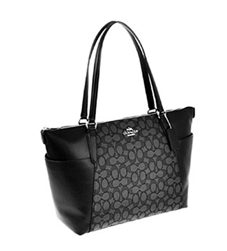 Coach Ava II Signature Leather Jacquard Smoke Black Top Handle Tote Shoulder Bag