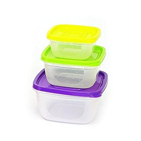 3 piezas Escuadra Plástico Transparente Caja de almacenamiento de ...