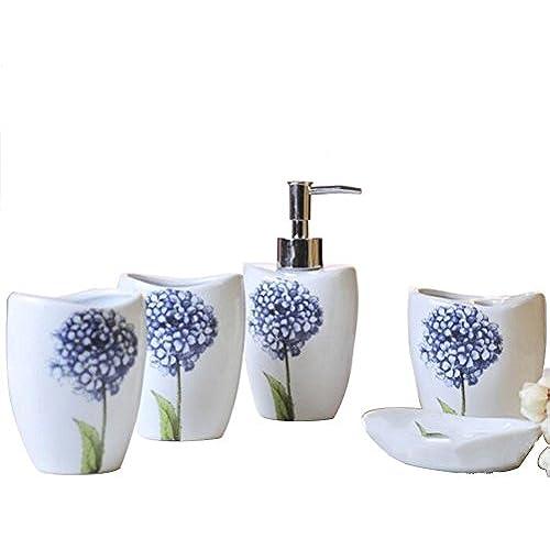 teal bathroom accessories. High Grade Ceramic 5 Pieces Bathroom Accessory Set With Blue Flower  Emsemble Sanitary Ware Home Decor Bath Ideas Gift Teal Accessories Amazon com