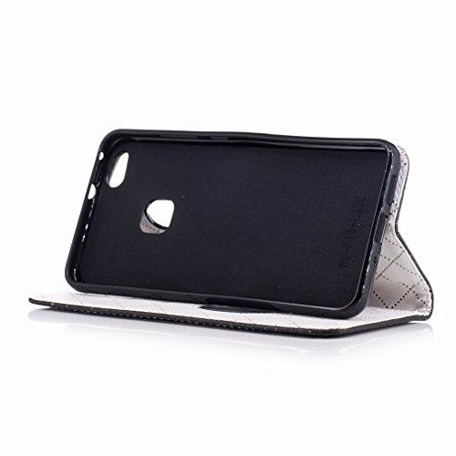 Yiizy Huawei P10 Lite Custodia Cover, Amare Design Sottile Flip Portafoglio PU Pelle Cuoio Copertura Shell Case Slot Schede Cavalletto Stile Libro Bumper Protettivo Borsa (Nero)