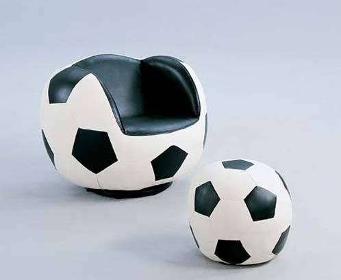 (2pc Kid's Soccer Swivel Chair and Ottoman Set)