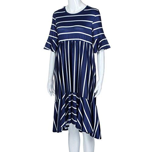 de Rond Femme Robe avec Robe Imprimes Col Ptale Marine D't Jupe Robe Poches Manches Courtes Rayures Angelof Lache p8U7qwW