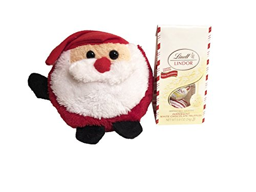 Mini Lindt Lindor Peppermint White Chocolate Truffles With Christmas Plush! Your Choice Of A Snowman Or Santa! Great Holiday Stocking Stuffer! (Santa Plush With (Choice Snowman)