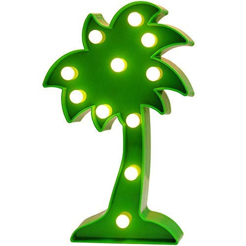 3D Tropical LED Palm Tree Light,Fiesta Party Decoration Palm Tree Signs,Wall Decor Holiday Birthday Party LED Marquee Lights,for Party Table Decorations,Cute Office Decor,Seasonal Home Decor(Green)