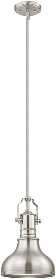 Farmhouse Metal Mini-Pendant Satin Nickel 8.63-Inch Wide