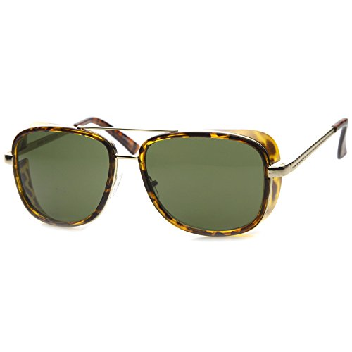 Classic Side Shield Double Bridged Flat Lens Metal Aviator Sunglasses 55mm (Side Flat Glass)