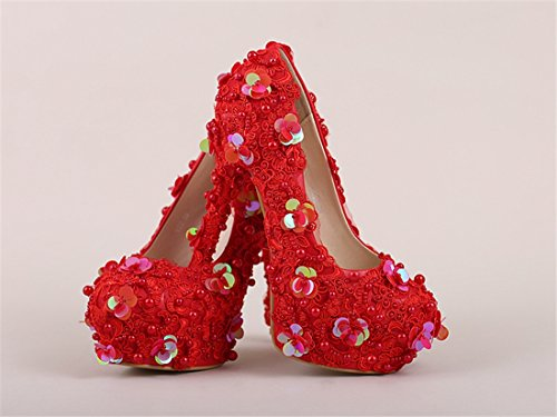 Red Bridal Bridesmaid LL176 Pumps 14cm Shoes Heel Women's Wedding Sequin Miyoopark Evening tSqz4wS