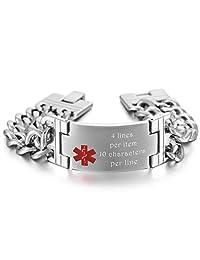 MeMeDIY Silver Tone Stainless Steel Bracelet Medical Alert ID Chain Link - Customized Engraving