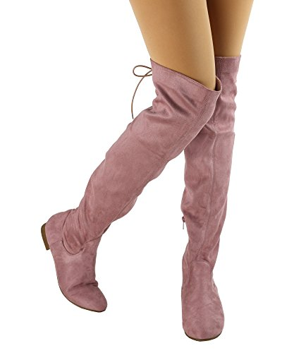 Paris Peach Natalia-01 Suede Zurück Lace Tie Up Over The Knee High Boots - exklusiv von Room of Fashion Mauve