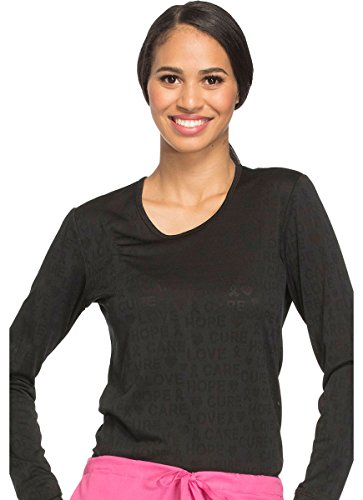 Cherokee Core Stretch Workwear Women's Long Sleeve Solid Underscrub T-Shirt X-Large Black
