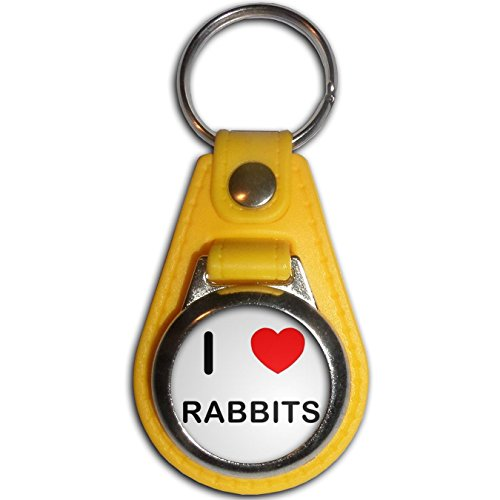 I Love Rabbits - Yellow Plastic / Metal Medallion Coulor Key Ring Rabbit Medallions