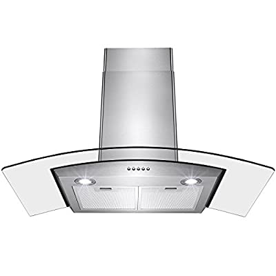 "Perfetto Kitchen and Bath Convertible 36"" Wall Mount Range Hood in Stainless Steel with LEDs, Push Controls & Tempered Glass"
