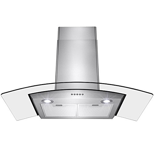 "Price comparison product image Perfetto Kitchen and Bath 30"" Convertible Wall Mount Range Hood in Stainless Steel with LEDs, Push Controls & Tempered Glass"
