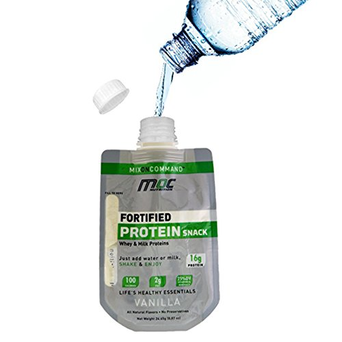 Fortified Protein Snack in Shaker Bag (with Whey and Micellar Casein)   Ready to Drink / Just Add Water   16g Protein Per Serving (1 box / 7 ct, Vanilla)