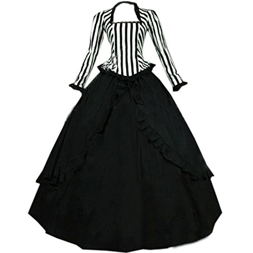 Partiss Women Vintage Cotton Gothic Victorian Dress Costumes,M,Black 2018