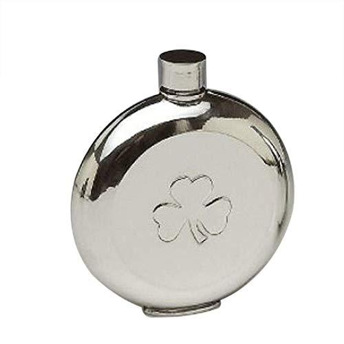 Mullingar Pewter Pocket Whiskey Flask with Irish Shamrock Design ()