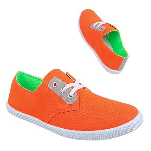 Ital-Design Low-Top Sneaker Damenschuhe Low-Top Schnürer Freizeitschuhe Orange