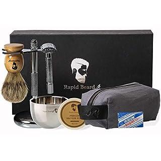 Shaving Kit for Men Wet Shave - Safety Razor with 10 blades, Shaving Badger Hair Brush, Shaving Soap Cream, Shaving Stand, Stainless Steel Bowl Mug, Canvas Dopp Kit Gift Set