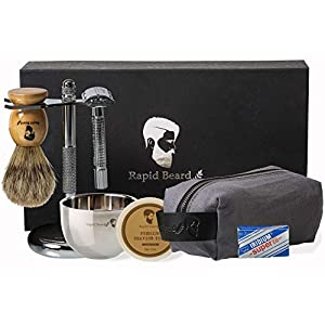 Shaving Kit for Men Wet Shave - Safety Razor with 10 blades, Shaving Badger Hair Brush, Shaving Soap Cream, Shaving… 12