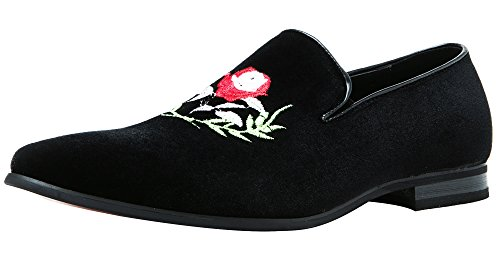 Round Fashion Men Red Peony Smoking Casual Slip Suede Toe Moccasins Santimon Shoes Black Embroidered on Loafers Slipper xB85wTx