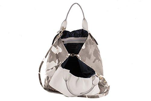 Anna Cecere - Borsa/Shopping in canvas con rifiniture in vera pelle e decorazioni con borchie oro - Made in Italy - Camouflage