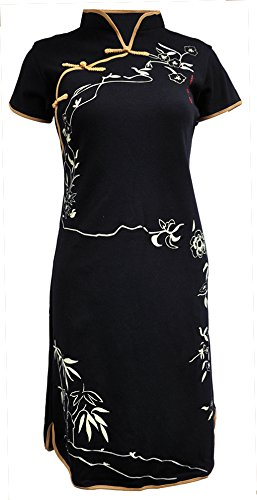 Amazing Grace Elephant CO. Chinese Tunic Dress Modern Style Qipao Cheongsam Dress (X-Large, Lady Black Gold) for $<!--$39.75-->