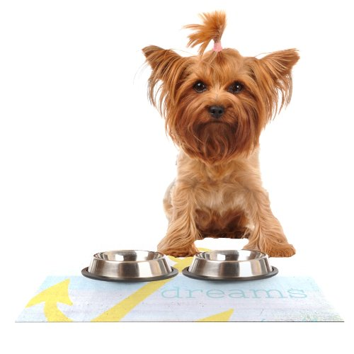 Kess InHouse Alison Coxon Let Your Dreams Set Sail  Feeding Mat for Pet Bowl, 18 by 13