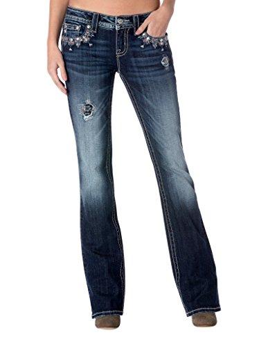 Miss Me Women's Sequin Detail Mid Rise Boot Cut Denim Jean, Medium Blue, 26