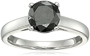 Sterling Silver Enhanced Black Round Diamond Solitaire Ring (2.00 cttw, I3 Clarity), Size 6