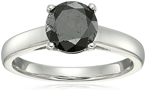 Diamond Black Collection (Sterling Silver Enhanced Black Round Diamond Solitaire Ring (2.00 cttw, I3 Clarity), Size 8)
