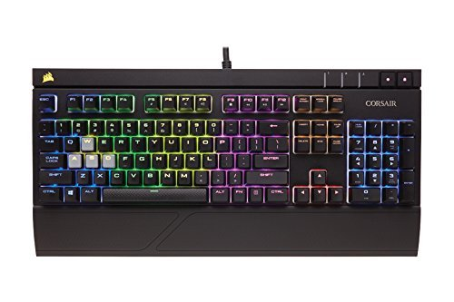 CORSAIR STRAFE RGB Mechanical Gaming Keyboard - USB Passthrough - Linear and Quiet - Cherry MX Red Switch - RGB LED Backlit (Renewed)