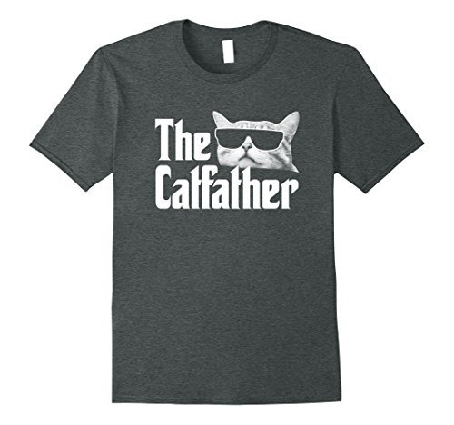 Mens The Catfather T-Shirt Funny Gift Shirt for Cat Daddy XL Dark Heather