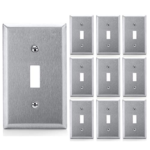 [10 Pack] BESTTEN Toggle Switch Metal Wall Plate, 1 Gang Standard Stainless Steel Switch Cover, Durable Corrosion Resistant Industrial Grade 304SS Material, UL Listed, Silver