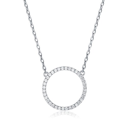 PAVOI 14K Gold Plated CZ Simulated Diamond Circle Halo Necklace - White Circle Zirconia Necklace