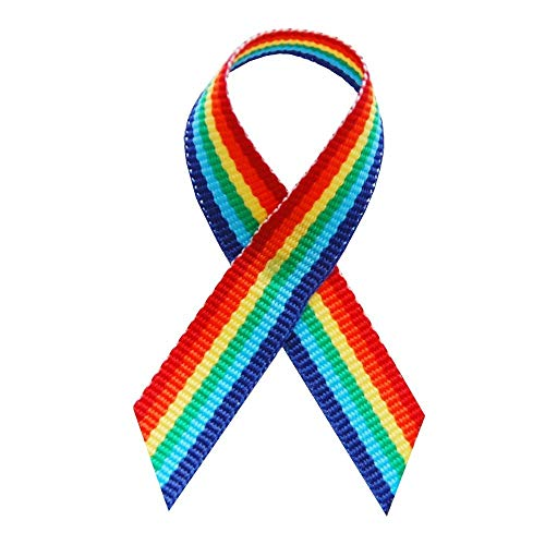 125 USA Made Rainbow Fabric Awareness Ribbons - Bag of 125 Fabric Ribbons with Safety Pins (Many Colors Available) ()