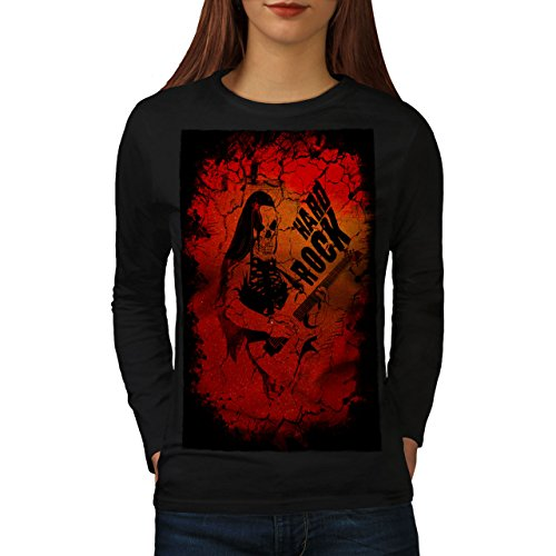 wellcoda Hard Rock Guitar Music Womens Long Sleeve T-Shirt, Dead Graphic Design Black L