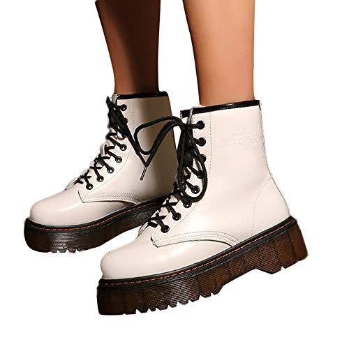 Martin Kaiki À Boots Talon Coton botte Martin Lacets Rétro nbsp;chaussures Femmes Blanc En Bottes Fourrées Épais Femme Antidérapant 46Hwx8qr4