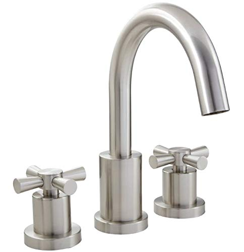 Mirabelle MIRML3RTBN Milazzo Deck Mounted Roman Tub Filler Trim with Metal Cross Handles