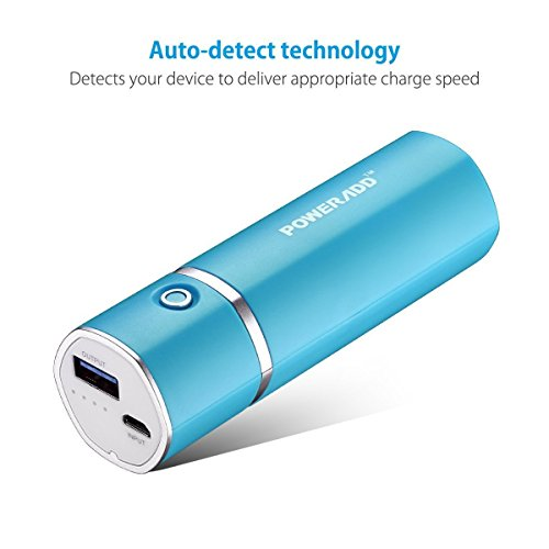 [Upgraded] Poweradd Slim 2 Most Compact 5000mAh External Battery 2.1A Ouput Portable Charger with Smart Charge for iPhones, iPad, Samsung Galaxy, HTC and More - Blue by POWERADD (Image #1)