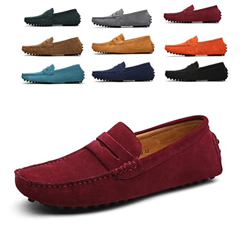 On Boat Slip Shoes Red Flats Men's Shoes Wine Driving Suede Penny Sherry Loafers Love n0qY8qwv