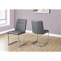 Monarch Specialties I 1084 2 Piece Dining Chair-2PCS/ 34 H Leather-Look/Chrome, Grey