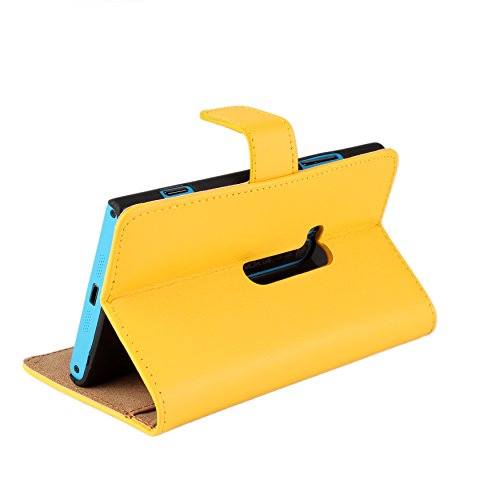 Lumia 920 Case, iCoverCase Genuine Leather Magnetic Flip [Card Slot] Wallet Cover Kickstand Case for Nokia Lumia 920 (Yellow) Photo #3