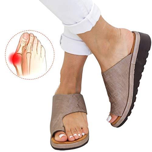 Chenghe Women's Flip Flop Wedge Sandal Comfort Open Toe Thong Slid Slippers Summer Beach Travel Sandal Shoes Khaki US 6.5