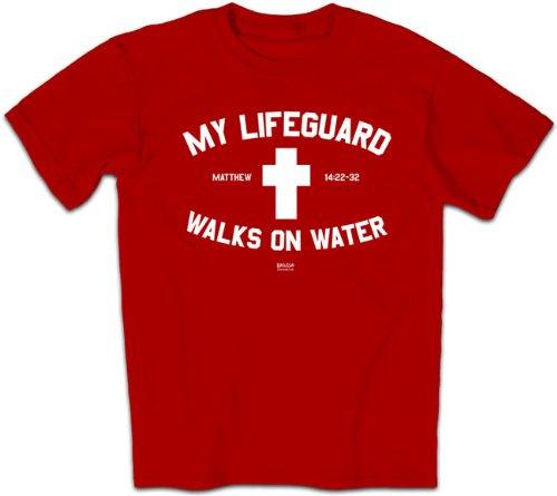 Kerusso Activewear APTALIFSM My Lifeguard Walks On Water T-Shirt - Red, Cardinal - Small