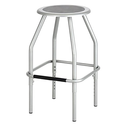 Pemberly Row Adjustable Drafting Stool in Silver by Pemberly Row