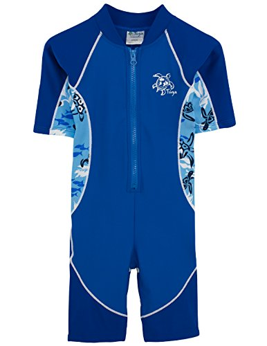 Tuga Boys Low Tide S/S One-Piece Swimsuit (UPF 50+), High Sea, 2/3 yrs