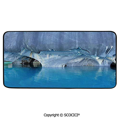 Print Door Mat, Indoor Floor Area Carpet Compatible Bedroom,Living Room,Children, Playroom, Bathroom,Blue,Marble Cave General Carrera Lake in Chile Natural Wonders Rocks,39