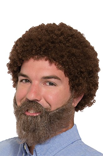 Adult Afro Wig (80s Guy Bob Ross Wig & Beard with Moustache)
